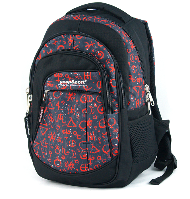 medium school backpack #70 S103dx red signs