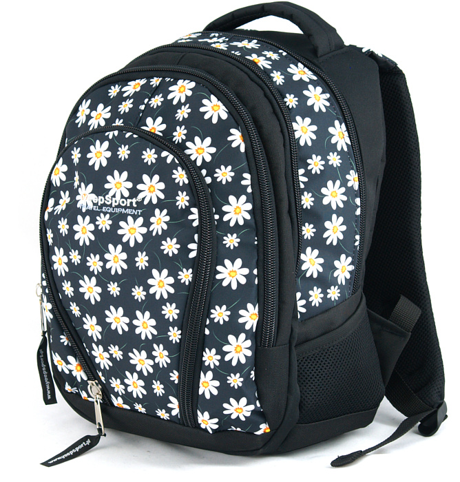 medium school backpack #327 S113dx flowers white