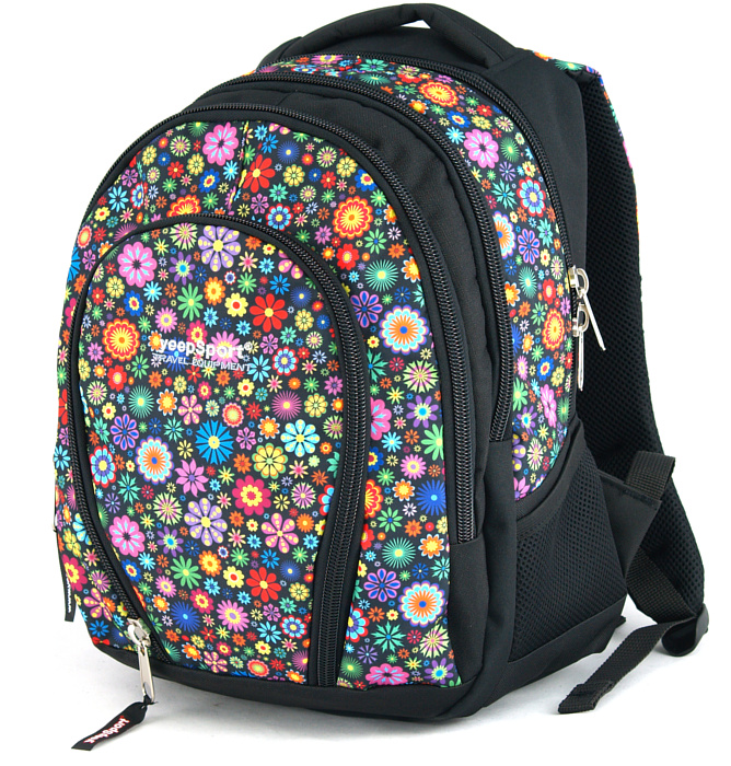 medium school backpack #328 S113dx flowers round