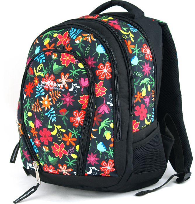 medium school backpack #336 S113dx flowers red