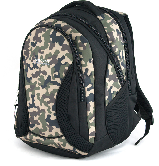 large school backpack #342 S106dx black camo wood