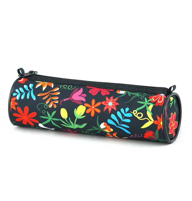 tube-shaped pencil case #353 T2 flowers red
