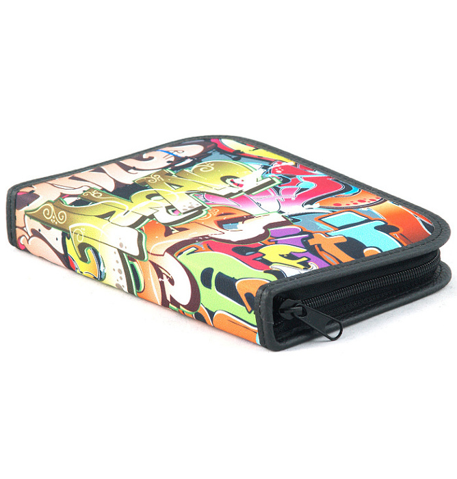 four section divided pencil case #443 T2c graffiti