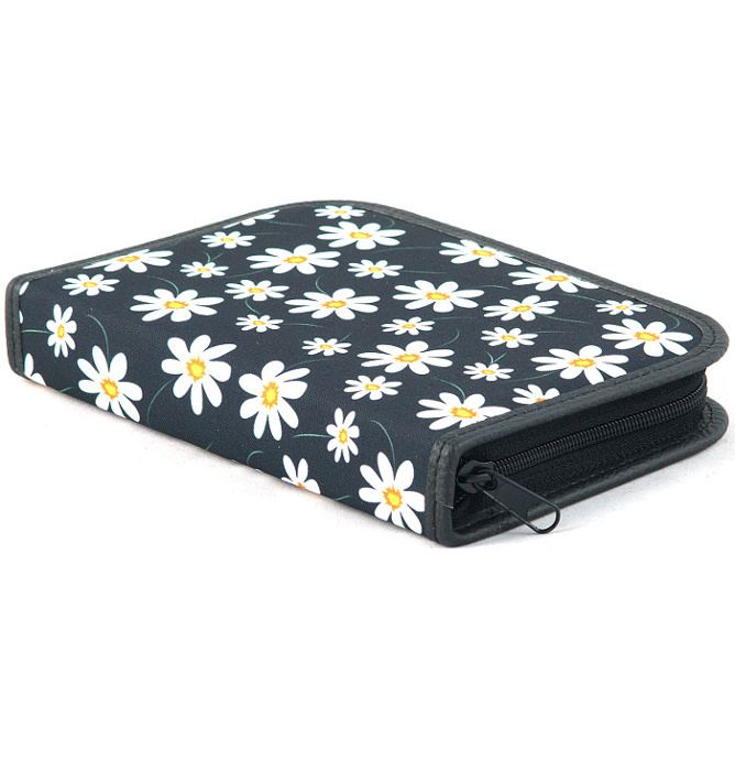 four section divided pencil case #460 T2c flowers white
