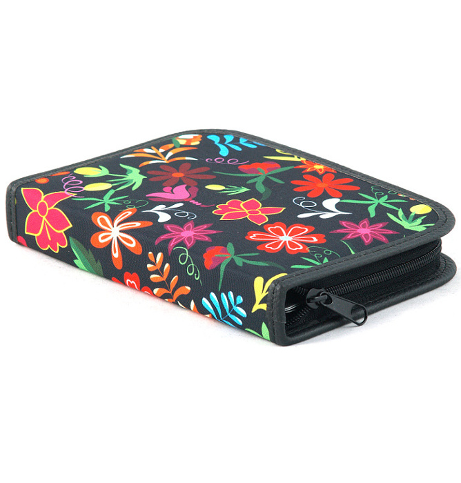 four section divided pencil case #461 T2c flowers red