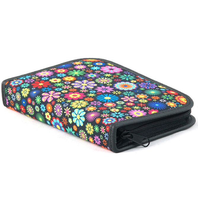 four section divided pencil case #462 T2c flowers round