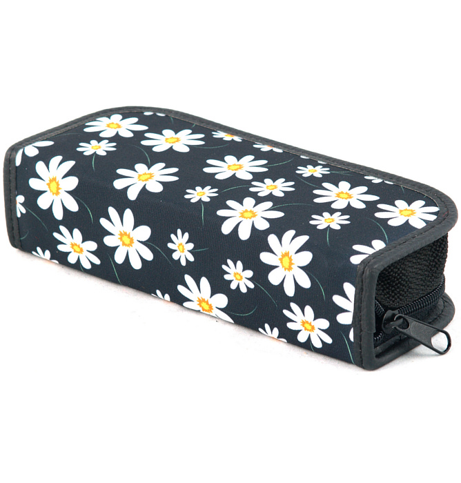 rectangle-shaped pencil case #414 T2a flowers white
