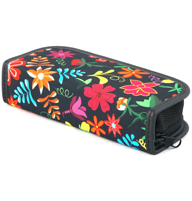 rectangle-shaped pencil case #415 T2a flowers red