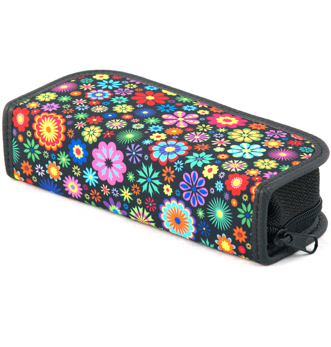 rectangle-shaped pencil case #416 T2a flowers round