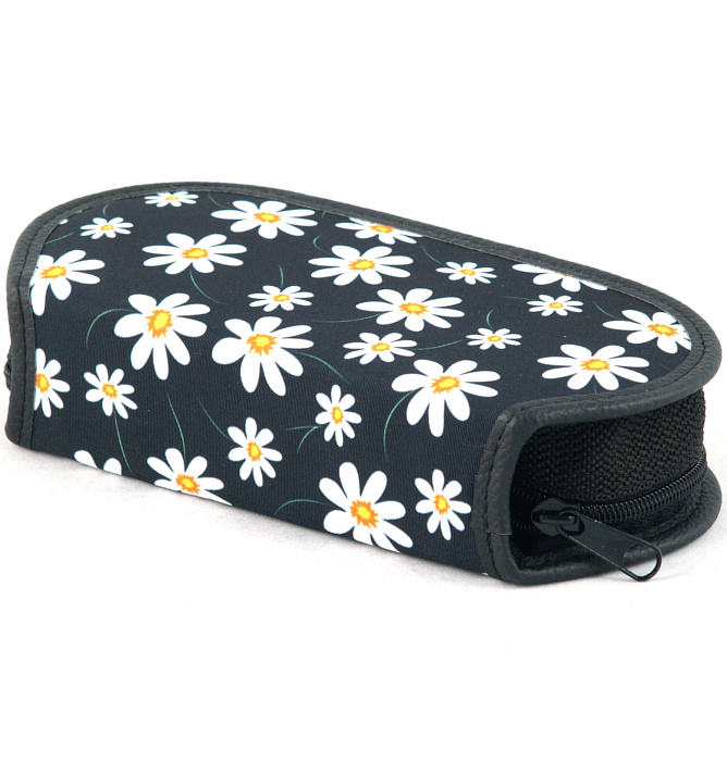 section divided pencil case #437 T2b flowers white