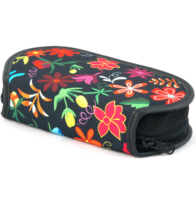 section divided pencil case #438 T2b flowers red