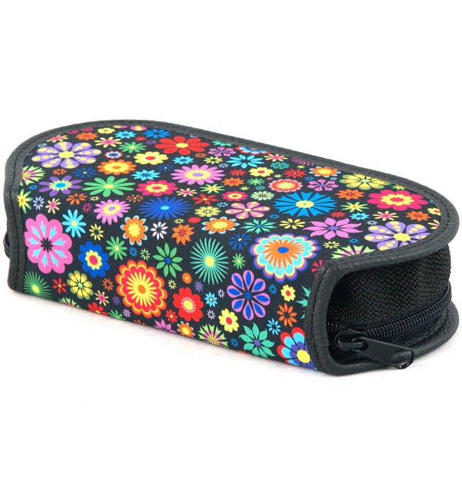 section divided pencil case #439 T2b flowers round