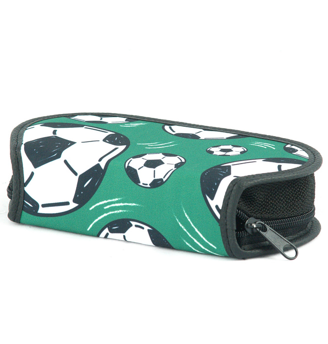section divided pencil case #514 T2b soccer green
