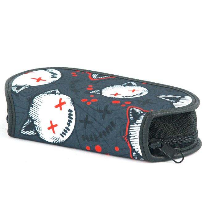 section divided pencil case #519 T2b stressed kitten