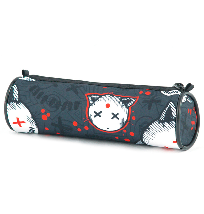 tube-shaped pencil case #528 T2 stressed kitten