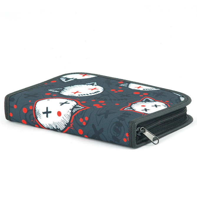 four section divided pencil case #536 T2c stressed kitten