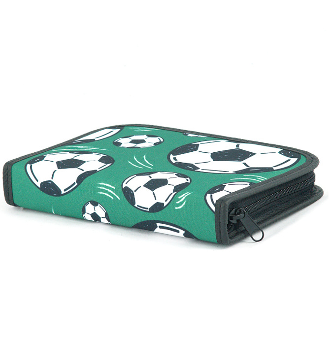 four section divided pencil case #538 T2c soccer green