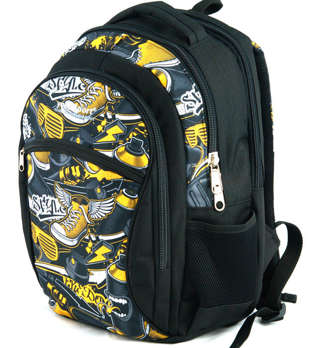 medium school backpack #566 S94dx graffiti yellow stylez