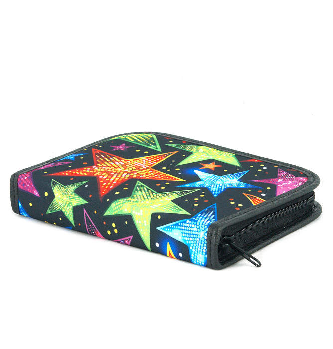 four section divided pencil case #605 T2c stars